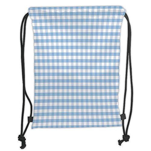 LULUZXOA Gym Bag Printed Drawstring Sack Backpacks Bags,Checkered,Little Squares and Stripes Pastel Color Gingham Repeating Rows Vintage Tile,Light Blue White Soft Satin