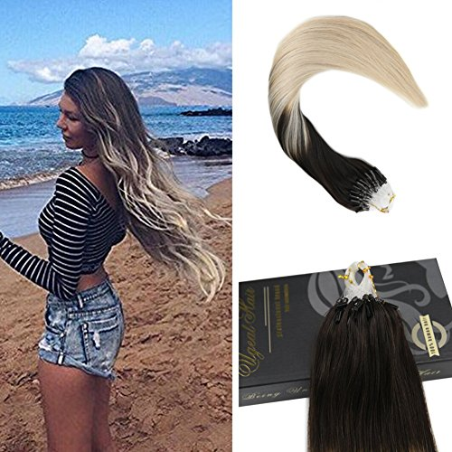 Ugeat 22 Zoll/55cm Micro Loop Extensions Dunkelbraune Farbe 2 Fading to # 60 Light Blonde Exhthaar Extensios Microrings Ombre 1g/s 50 Strands 50 Gram 100% Micro Loop Natural Human Hair Extensions