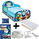 BEBEGAVROCHE Komplettpaket Premium Bett Thomas und seine Freunde Wagon mit Schubladen = Bett + Matratze & Bettwäsche + Bettdecke + Kissen
