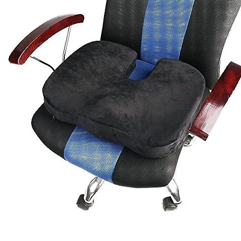 Bequemes Gedächtnis-Schaum-Sitzkissen durch Jarvan, neues Entwurfs-Rollstuhl-Kissen Vervollkommnen Sie für Ihren Büro-Stuhl und verringern Sie Ischias, Tailbone Schmerz, plus verbessern Sie Haltungs-Arbeiten gut mit einem Lenden-Stützkissen (Schwarzes)