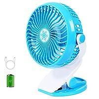AXspeed Clip On USB Fan Baby Stroller Fan with Rechargeable Battery Protable Desktop Fan for Outdoor Home Office Travel (Blue)