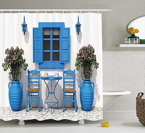 Griechische Muster (Nyngei Reise Dekor Duschvorhang Traditionelles Griechisches Design Urlaub Sommer Haus Blumen Fenster Bild Stoff Badezimmer Dekor Set mite Marineblau und Weiß)