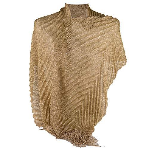 Emila coprispalle oro donna elegante cerimonia a plissè con frange sciarpa dorata x ragazza foulard fular scialle lurex da matrimonio per abito da sera giorno primavera estate 2019 estivo oro