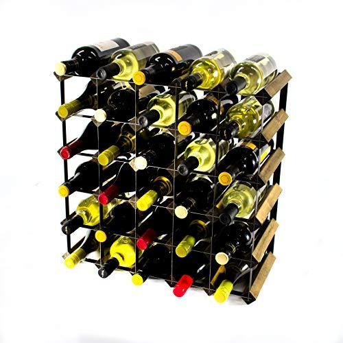 Cranville wine racks Classic 30Flasche Nussbaum gebeizt Holz und schwarzem Metall Weinregal fertig montiert -