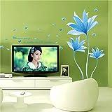 Ufengke® Schön Blau Blumen Wandabziehbilder,Wohnzimmer Schlafzimmer Entfernbare Wandtattoos Wandbilder