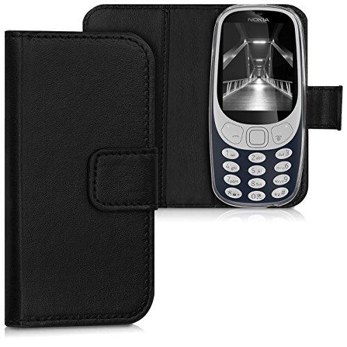 kwmobile Hülle für Nokia 3310 (2017) - Wallet Case Handy Schutzhülle Kunstleder - Handycover Klapphülle Schwarz