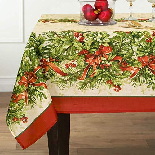 newbridge Weihnachten Stoff Tischdecken und Platzsets, Polyester-Mischgewebe, Holly Ribbon, 60