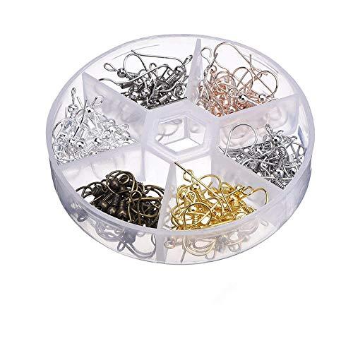 Febbya Ohrhaken,120 Stück Ohrringe Haken Ohrhänger mit Aufbewahrungsbox für Schmuck Ohrring DIY Nickelallergie Golden Silber 6 Farben 18mm*2mm*0.8mm