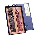 Marcapáginas De Libro Madera Naturales Tallados A Mano De Madera - Set De 2 Marcadores (Incluyendo Caja) (Carving-2)