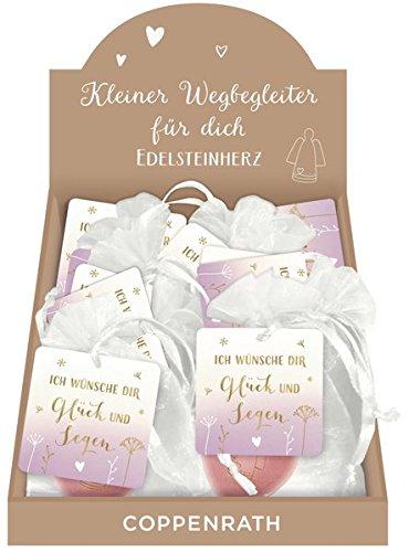 Handschmeichler - Ich wünsche dir Glück und Segen: Rosenquarz-Herz mit Gravur