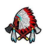 Native American Indian Feder Axt Kreuz Punk Rock hevery Metall Lady Rider Biker Wolfskopf-Motiv Patch Hand bestickt und Bügelbild Symbol Jacke T-Shirt patches aufnäher Zubehör