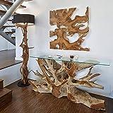 Möbel Bressmer Luxus Wurzel Konsole Naga Inklusive Glasplatte 140 cm | Massivholz Anrichte Sideboard in Handarbeit | Unikat aus Teak - der Eye-Catcher