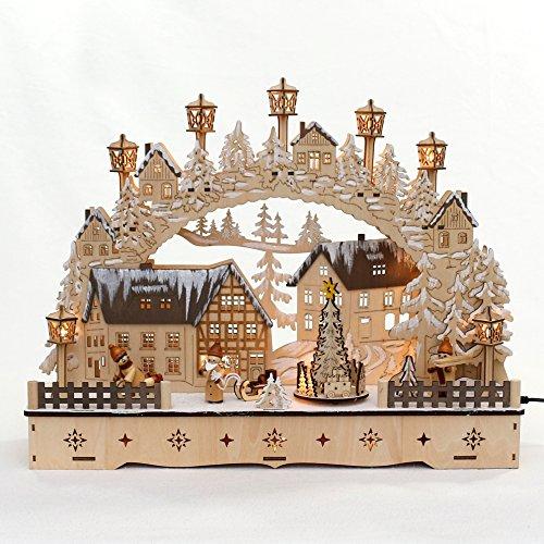 Dekohelden24 LED Holz Schwibbogen mit bewegtem Weihnachtsbaum, Motiv: Weihnachtsmann und Schneekinder, L/B/H ca. 45 x 12 x 35 cm, für Batterie- oder Adapterbetrieb.