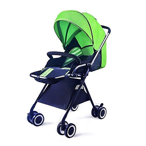 Cochecito para niños alto paisaje / Paraguas ligero Coche / Cochecito plegable puede sentarse Reclinable BB Niños ultra-ligero ( Color : Verde )
