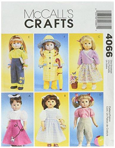 McCall's, Cartamodello per Abbigliamento Bambola (Scarpe, Pantaloni, Abiti) Fino a 45 cm