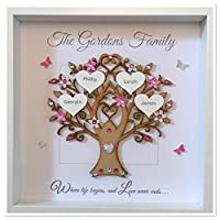 Personalised Family Tree 3D Box Picture Frame Bright Pink & Silver Glitter Up To 14 Names