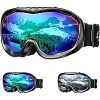 ENKEEO Gafas de Esquí Lente Doble Anti-Vaho 100% UV400 Protección Ski Goggles Snowboard para Esquiar Snowboard Deportes de Invierno, Color Verde