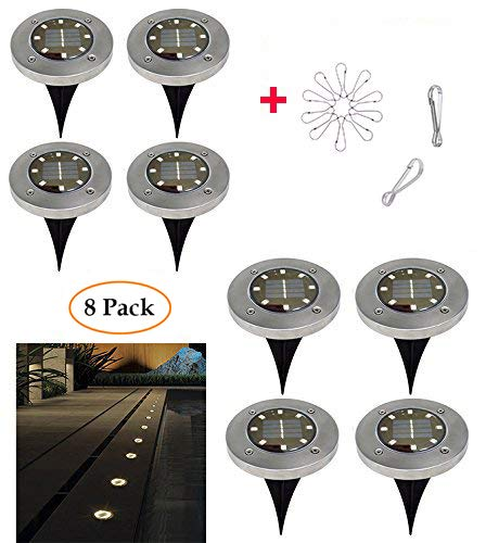 Luces Solar de Tierra Luz 8 pcs LED para Exterior Energía Solar...