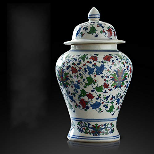 Antik Bunt Porzellan Blumenvase Keramikplatten Tempel Jar Vase China Ming-Stil Moderne Chinesische Vase Traditionellen Kunstdrucke Zu Hause Dekor Wohnzimmer-a H32cmxw18cm China Dekor