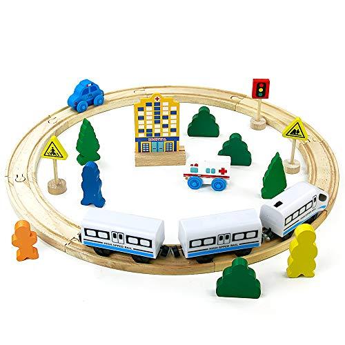 Pista Treno in Legno Giocattolo Ferrovia Rotonda Trenino Pista con Auto della Polizia Ambulanza Accessori 26 Pezzi Giochi Regalo per Bambini 3 4 5 6 7 Anni