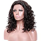 """14\ 130% density lace front wig , #4 Medium Brown : Premier Body Wave Curly Glueless Lace Front Wigs- Loose curly Remy Brazilian Human Hair Wigs, Wet any Wavy Front Lace Wig Free Part for Black Women with Baby Hair 14""""#4 Medium Brown wig"""