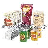 mDesign Juego de 2 accesorios para interiores de armarios de cocina - Práctica balda extensible de metal para ampliar el espacio - Estante para platos antideslizante - plateado