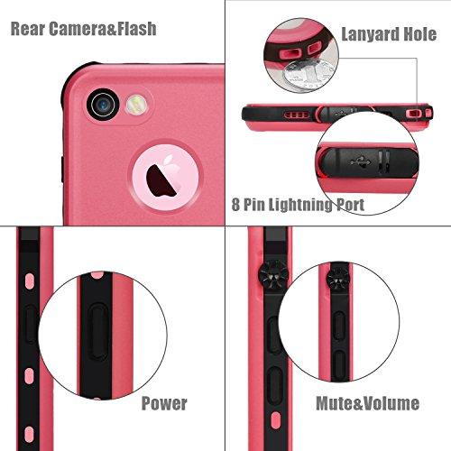 Merit Coque Étanche pour iPhone 7 Waterproof Case Housse Etui Anti-poussière pour iPhone 7 Résistant aux Chocs (Bleu) Rose