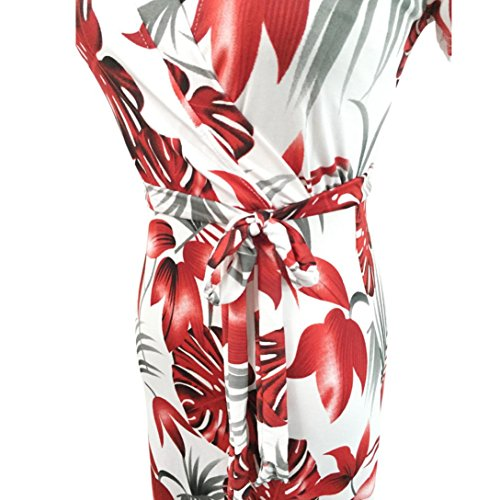 Bekleidung Longra Damen Boho lange Maxi Kleid Sommer lange kleider Strandkleider Red