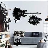zhuziji Comptine Wall Stickersabstract Guitare Électrique avec Rock dans Splash World Home Musicale Vinyle Autocollant Decalposter63x102cm