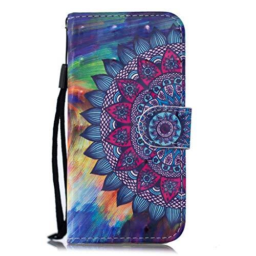 Beddouuk iPhone X Hülle,iPhone X Ledertasche,PU Leder Flip Brieftasche Wallet mit Standfunktion Kartenfach Retro Muster Folio Notebook Case Klapphülle-Mandala