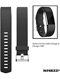 M@SKED® Replacement Wristband Silicon Wrist Strap Band for Fitbit Charge 2/Charge 2 HR