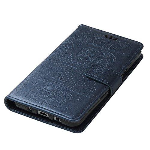 Für Samsung Galaxy ON5 Premium Leder Schutzhülle, weiche PU / TPU geprägte Textur Horizontale Flip Stand Case Cover mit Lanyard & Card Cash Holder ( Color : Pink ) Blue