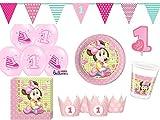48-tlg. Partyset Minnie Baby 1. Geburtstag rosa - für 8 Personen - Partygeschirr und Zubehör