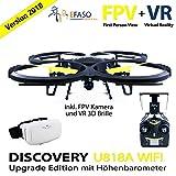UDI U818A Drohne 2 MP WiFi FPV Kamera 2,4 GHz Quadrocopter neueste Version Sept 2018 mit Höhehaltemodus Altitude Hold, Rückholmodus Headless Mode, VR 3D Brille, Akkustandswarnung, Flugroutenplanung und One-Key-To-Start Funktion
