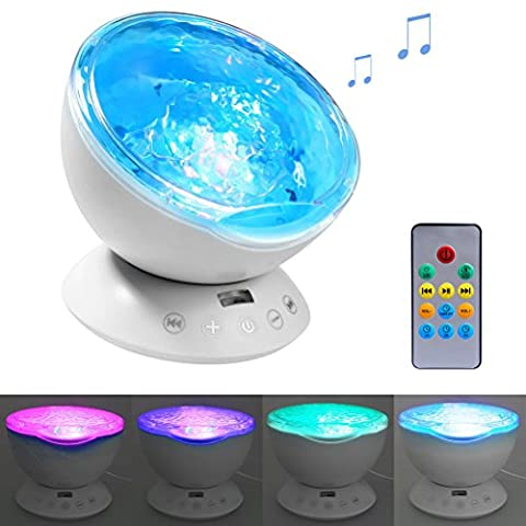Ghope Bedside lamp Music Player Christmas Gifts Night Light Ocean Projector Ceiling Light Mini Ocean Waves Sea Remote Control Romantic Decor For Bedroom Living Room Children's Birthday Gift, (Ps Elements 12)