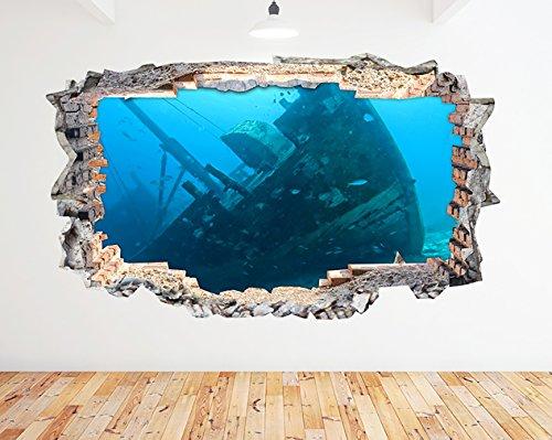 tekkdesigns N885Gesunkenes Schiff Wrack Blue Ocean zerstörten Wand Aufkleber 3D Kunst Aufkleber Vinyl Zimmer (groß (90x 52cm)) -