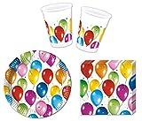 JT-Lizenzen Party-Geschirr Set Balloon Fiesta - Teller Becher Servietten (10 Personen)