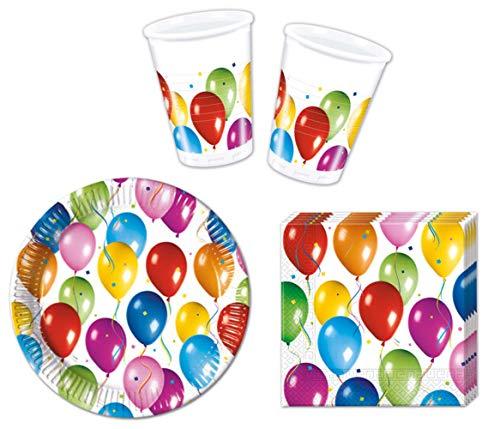 JT-Lizenzen Party-Geschirr Set Balloon Fiesta - Teller Becher Servietten (10 Personen) Teller 10