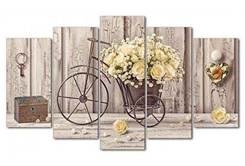Deco Italia Quadro Shabby Chic su 5 pannelli in legno bicicletta - Yellow Roses | 150 x 100 cm