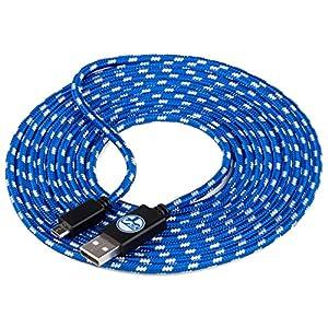 snakebyte Universal Micro USB Ladekabel – 3 Meter – Offiziell Lizenziertes FC Schalke 04 Micro USB Kabel