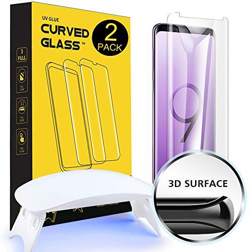 [2 Stück]NI-SHEN Galaxy S9 Panzerglas Schutzfolie, [Gebogen Volle Abdeckung][Flüssige Dispersions Technologie][Kompatibles Hülle] Gehärtetem Glas Schutzfolie für Samsung Galaxy S9 -
