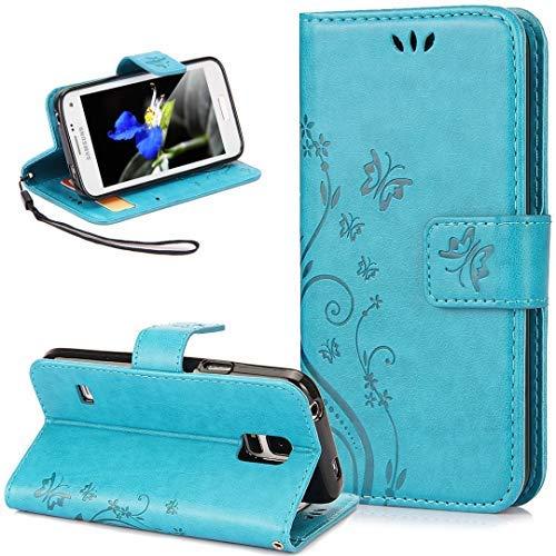 Compatible avec Coque Galaxy S5/S5 Neo Etui Motif Embosser Fleur Papillon Housse Cuir PU Etui Housse Coque Cuir Portefeuille Protection supporter Flip Case Etui Housse Coque pour Galaxy S5/S5 Neo,Bleu
