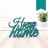 KLEINLAUT 3D-Schriftzug Home Sweet Home in Größe: 10 x 6,6 cm - Dekobuchstaben - 32 Farben zur Wahl - Türkis