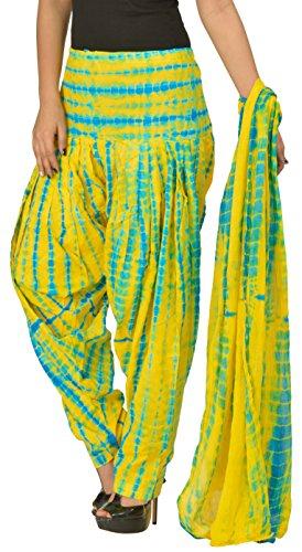 Gurukripa Women\'s Cotton Patiala with Dupatta (Yellow & Blue)