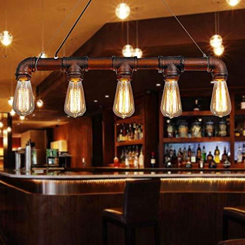 Glighone Lámpara Colgante Luz Vintage de Tubo Luz Colgante 40W*5 Interfaces Lámpara Antigua Original Ilumunación Techo Interior Decorativa Casquillo E27 No Incluye Bombillas, Color Bronce