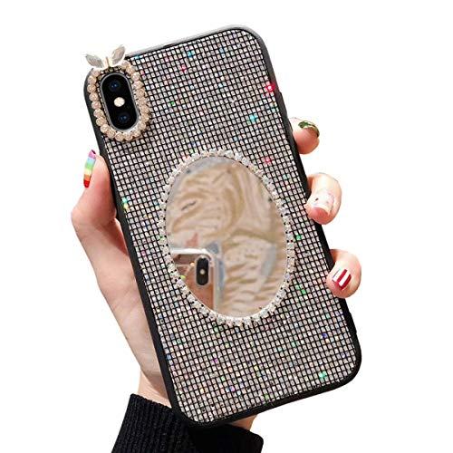 Preisvergleich Produktbild Misstars Spiegel Hülle für iPhone XS Max Grau,  Bling Glitzer Diamant Strass Handyhülle Weiche TPU Silikon + Hart PC Zurück Anti-Rutsch Kratzfest Schutzhülle für Apple iPhone XS Max (6, 5 Zoll)