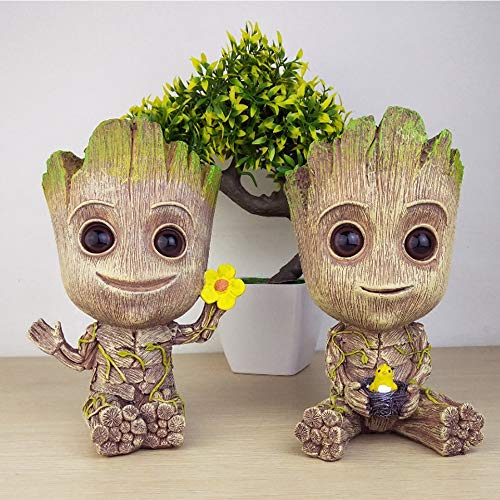 Baby Groot Blumentopf, Action-Figur aus Guardians of The Galaxy für Pflanzen & Stiftköcher Crafts Figur Wohnkultur 2xStück