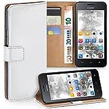 moex Huawei Y330   Hülle Weiß mit Karten-Fach 360° Book Klapp-Hülle Handytasche Kunst-Leder Handyhülle für Huawei Ascend Y330 Case Flip Cover Schutzhülle Tasche