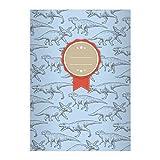 Kartenkaufrausch 1 Cooles Dino DIN A4 Schulheft, Schreibhefte mit verschiedenen Dinosauriern auf hellblau Lineatur 20 (blanko Heft)