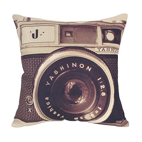 Stampa 3D Coolsummer vari tipi di fotocamera Vintage, in cotone e lino copriletto decorativo quadrato-Federa per cuscino, motivo: 45,72 X 45,72 (18